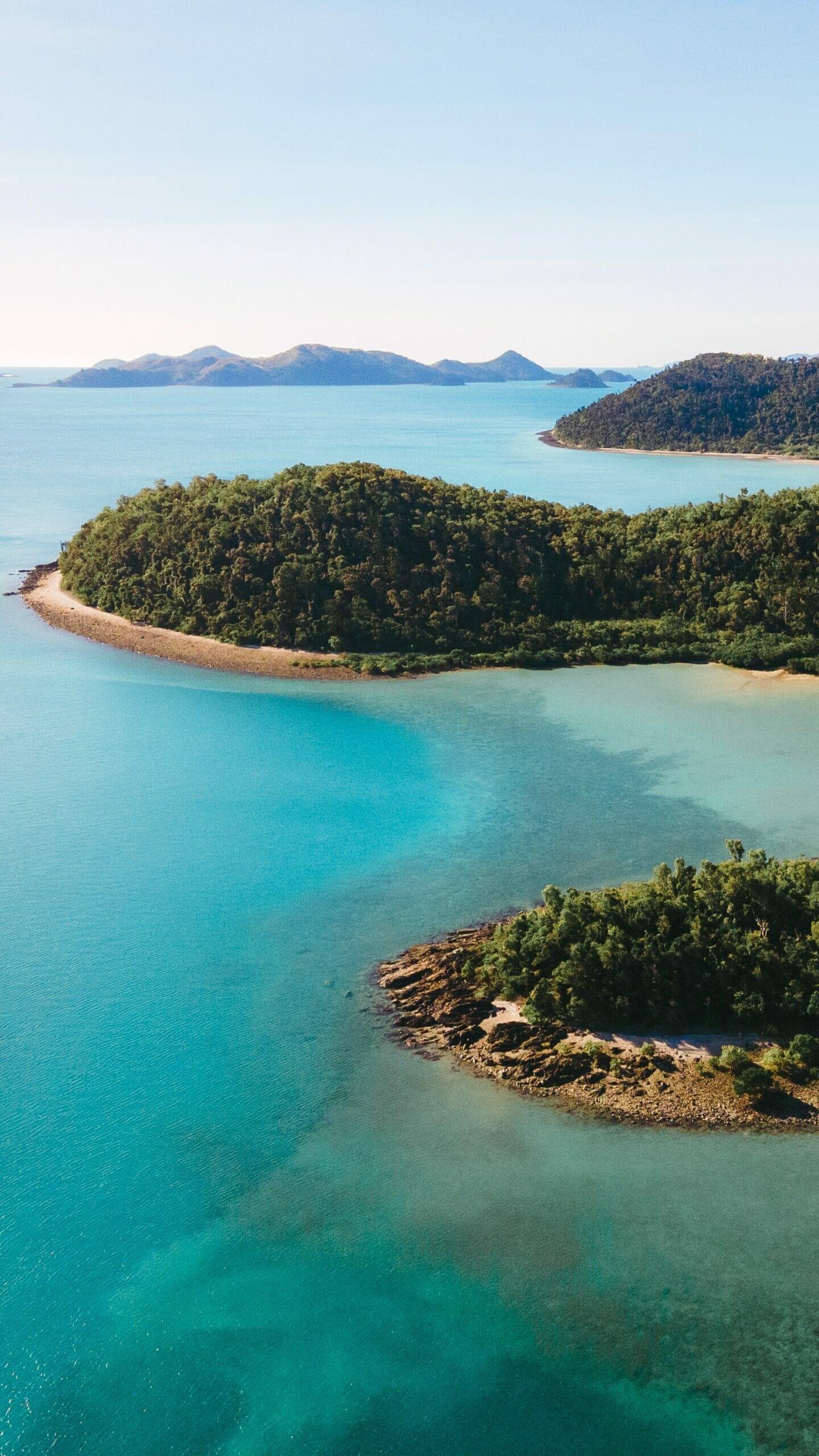 Aerial view of Palm Bay, Whitsundays QLD, Australia