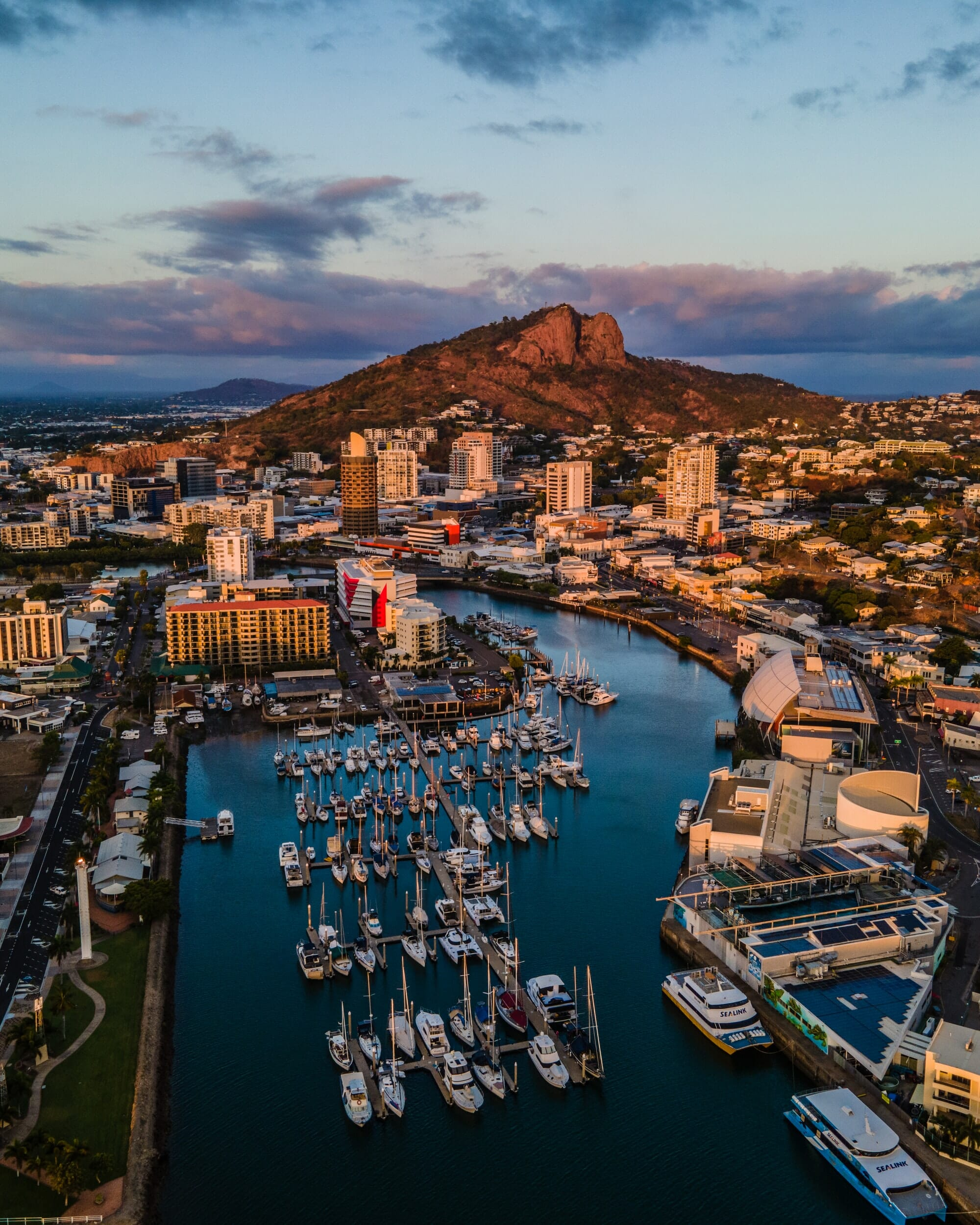 Aerial view of Breakwater Marina in Townsville, QLD, Australia